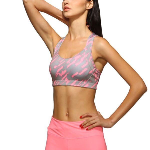 Zhangyunuo Ladies Cross Strap Back Yoga Bra High Impact Padded Workout Bra Energy Camouflage Fitness Sports Top