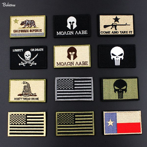 Tactical Morale Army Military Badges Embroidered Stickers Stick on American Flag Patch for Clothes Backpack Decoration
