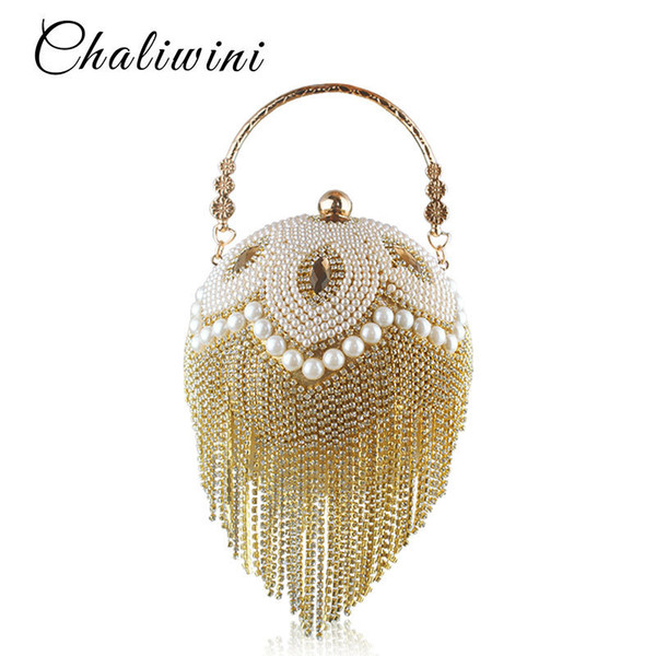 Tassel Fashion Women Pearl Beaded Crystal Party Evening Bag Bridal Wedding Round Ball Wrist Bag Round Clutch Purse Handbag Y19061301