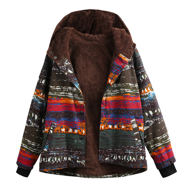 Winter Women Jacket Coat Plus Size Printed Hooded Long Sleeve Thick Fleece Warm Parka Coat Vintage Long Outerwear Overcoat Blue