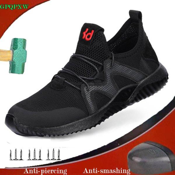 Chaussures de travail pour hommes en été anti-écrasement, anti-perforantes, chaussures de sécurité, respirantes, travail confortable, antidérapantes