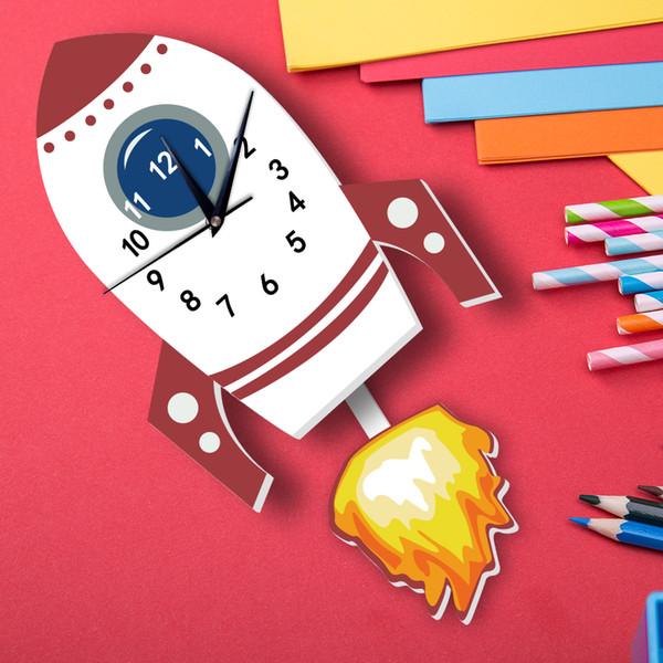 Vente en gros 1 PCS 3D Cartoon Rocket mur Pendule Horloge silencieuse arabe Numerals Board PVC Moussant
