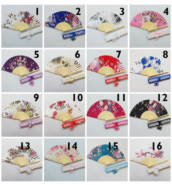 Flower satin cloth fan lady's folding hand fan wedding favors gift box package free shipping W9985