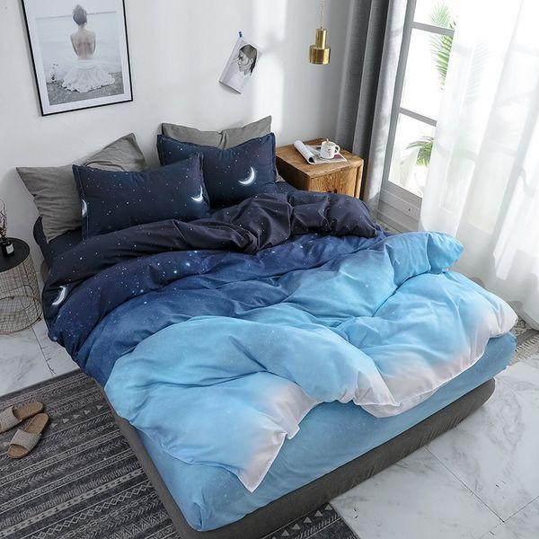 Sternenhimmel Bettwäsche-Sets Mond und Stern Muster Farbverlauf Bettbezug Set Bettlaken Kissenbezüge für Jungen Multi Size