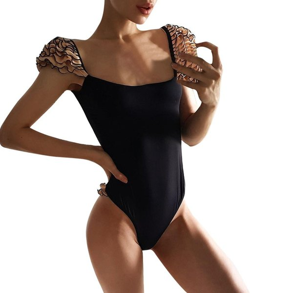 Swimsuit Sexy Women Bikini Push Up Mayo New One-piece Padded Swimwear Ruffle Solid Bathing Beachwear 2019 Mujer