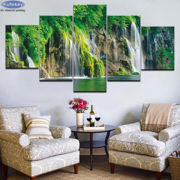 5 pcs 5D diamond painting Waterfall lake cross stitch 3d pictures mosaic diamond embroidery landscape mosaic handicrafts hobby
