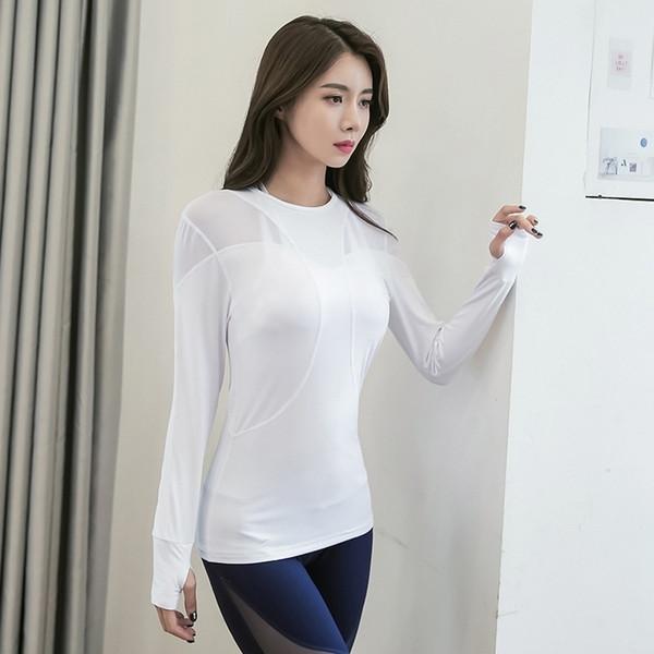 Tops de yoga de manga larga para las mujeres sexy de malla de entrenamiento top entrenamiento gimnasio ropa sólido pulgar agujero yoga camisetas damas # 731035