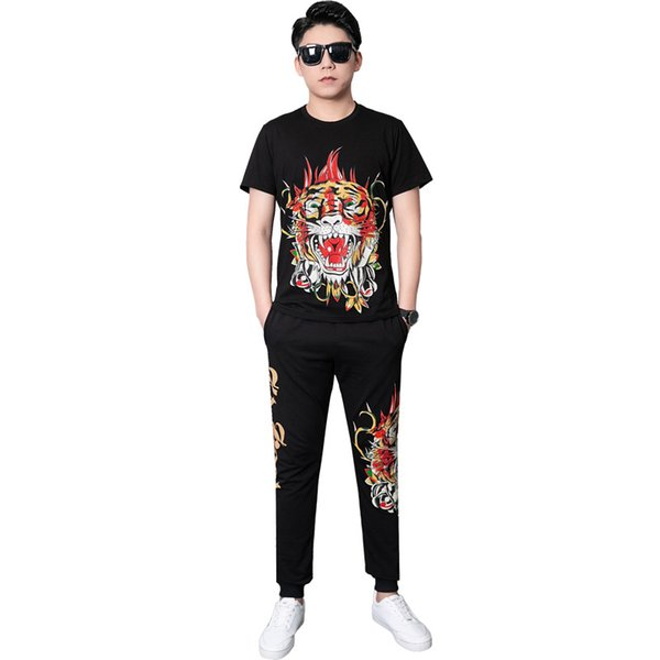 2019 New Suit Male Casual Sweat Suits Tiger Print Fashion Sportswear Slim Fit Two-piece Mens Designer Tracksuits Mens Clothing Size L-6XL