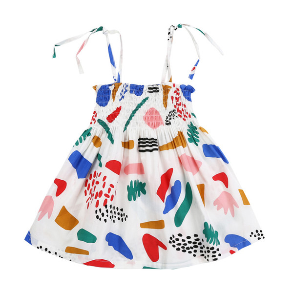 2019 summer new Girls doodle pattern slip dress cute Kids stretched chest tube dress for 1-5T Rainbow colors cotton skirt