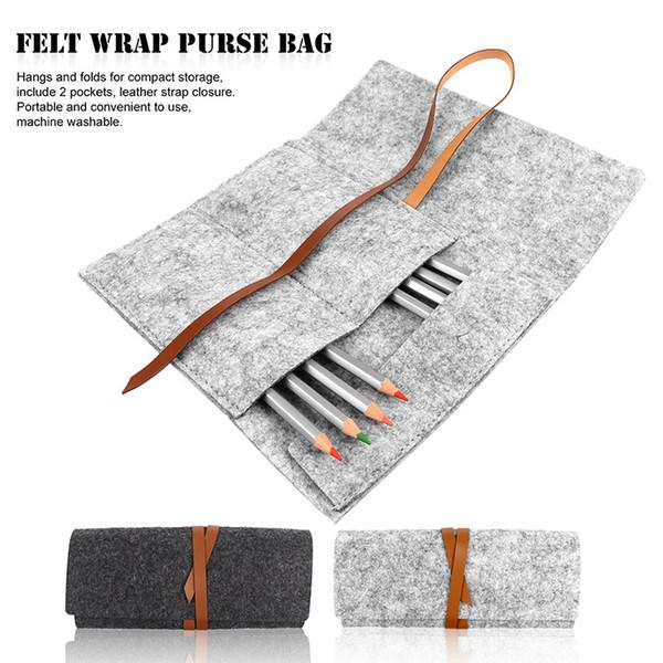 wholesale Portable Cosmetic Makeup Brush Pen Storage Bag Women Multipurpose Felt Wrap Purse Pouch Folding Travel