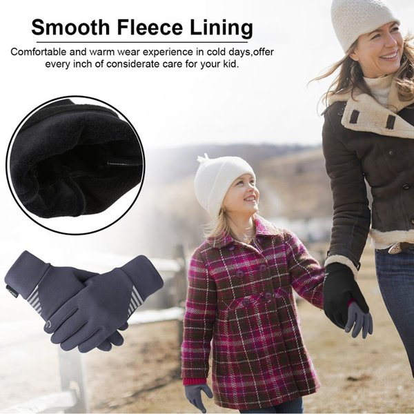 Fashion-Vbiger Kids Winter Gloves Anti-skid Touch Screen Gloves Soft Outdoor Sports Warm with Reflective Printing Silicone Strip