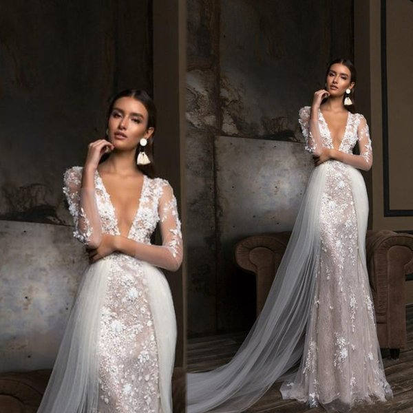 top popular 2020 Berta Mermaid Wedding Dresses Long Sleeves Deep V Neck 3D Floral Lace Appliqued Bridal Gown Sexy Sheath Bride Dress with Overskirt 2019