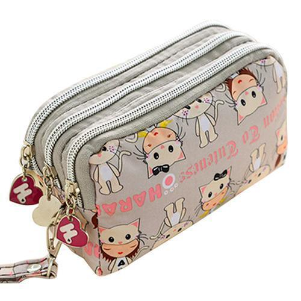 Wholetide- Europe Style Women Cute Cat Heart Wallet Purse Triple Zipper Clutch Phone Bag Case Organizer 7 Colors 8xrf