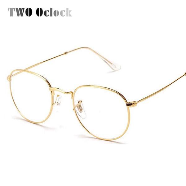 Atacado- DOIS Oclock Moda Gold Frame De Metal Óculos Para Mulheres Do Vintage Feminino Óculos Lente Clara Quadros Ópticos oculos de grau 3447