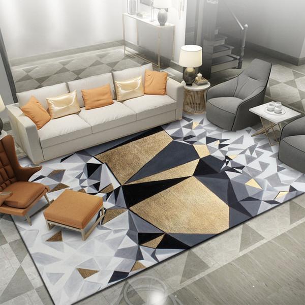 Grosshandel Mode Nordischen Geometrischen Teppich Gelb Grau Boden Teppiche Wohnzimmer Schlafzimmer Nacht Teppiche Flur Kinderzimmer Badezimmer Tapetes