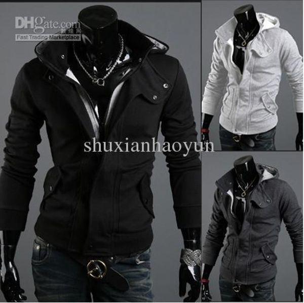 Pop Tide Long Sleeve Brushed Napping With Hood Menvs Hoodies Black Grey Cardigan Sweatshirt Promotio
