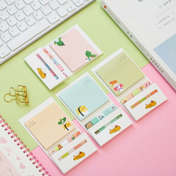 180 Pages Kawaii Cat & Goose Portable Memo Pads Sticky Notes School Office Supply Student Stationery Notepad
