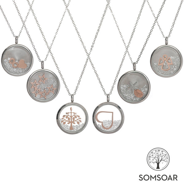Wholesale Somsoar Jewelry 23mm Stainless Steel Glass Charm Pendant Necklace with White Clear Crystal in Glass Pendant as Gift