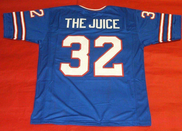 Barato retro # 32 OJ Simpson encargo Jersey EL JUGO bule para hombre de la costura de la universidad Tamaño S-5XL jerseys de