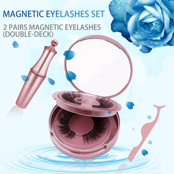 DHL livraison gratuite en gros haute qualité 2 paires 5 cils magnétiques coffret cadeau avec eyeliner liquide et pince à épiler