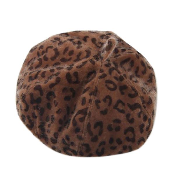 Moda Sombrero mujer Nuevo chapeau femme Womens Warm Pure Color Leopard Beret Artista francés Gorro plano