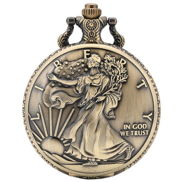 Antique Commemorative Statue of Liberty Moneta da 1 oz Fine Argento One Dollar Coins Collezioni Orologio da tasca degli Stati Uniti d'America