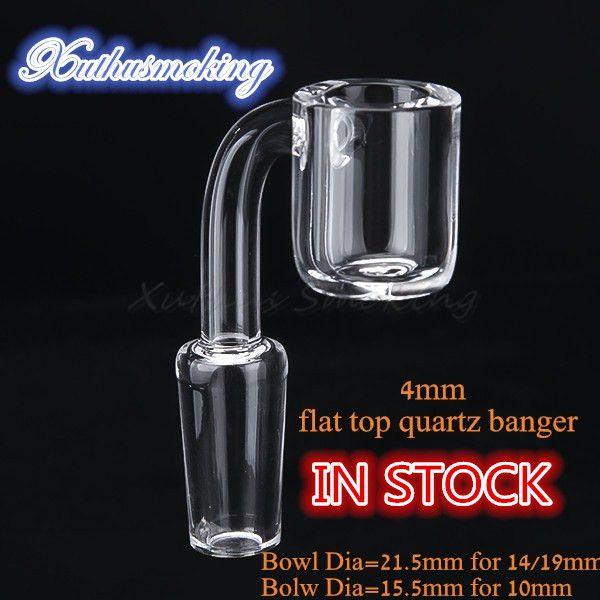 top popular 4mm Stock Flat Top Quartz Banger Bowl Dia 21.5mm for 14mm 19mm Joint Bowl Dia 15.5mm for 10mm Joint DHL 643 2021