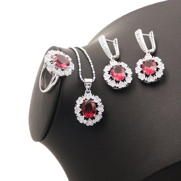 Cuore russo creato zircone bianco rosa 925 francobolli color argento set di orecchini pendenti orecchini collana