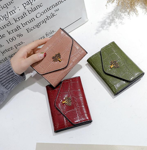 Factory wholesale brand women handbag fashion stone leather short wallet Joker card leather student wallet retro buckle coin purse