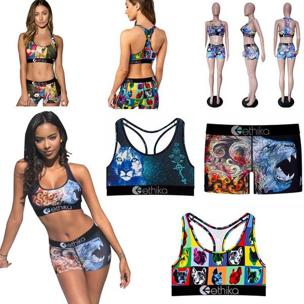Ethika Women's Swimsuit Cartoon Animal Print Swimwear Womens Push-Up Bra Bikini Set High Waist Cover Up Shorts Swimsuit Vest Beachwear C6304