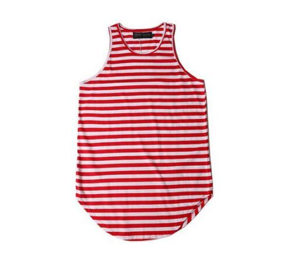 Men's Plain T-Shirt Justin Bieber Hip Hop Sleeveless Longline Tee Shirt Curved Hem Crew Neck Vest Tank Top Men Striped T-Shirts 100% Cotton