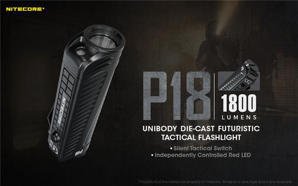 NITECORE P18 1800 Torch Lümen Beyaz Kırmızı Işık CREE XHP35 HD LED Dişli Kanunu İcra Arama Açık Kamp Fenerleri