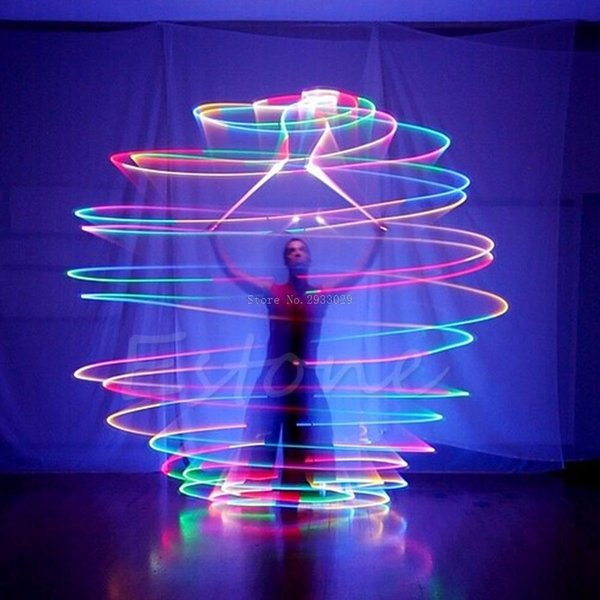 Wholesale- Pro LED Multi-Colored Glow POI Thrown Balls Light Up For Belly Dance Hand Props -B116
