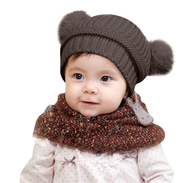 Cute Spring Autumn Toddler Baby Boys Girls Winter Keep Warm Crochet Knit Hat Infant Hairball Cap Drop Shipping