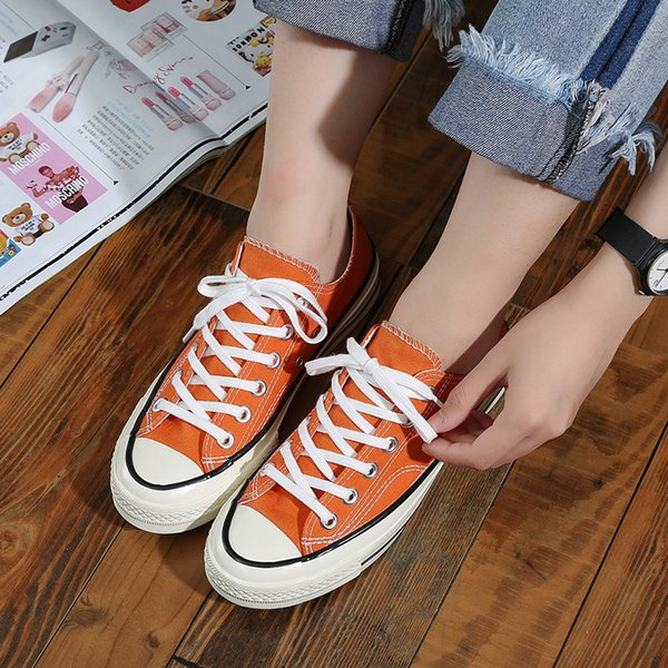 Newest Spring and Summer Women Canvas Shoes 1970s Orange Retro Unisex Casual Shoes South Korea Ulzzang Street QSD252