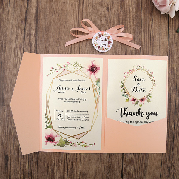 2019 Blush Pink Pocket Wedding Invitations Trifold Wedding Invite With Rsvp Card And Ribbon And Round Tag What To Write On Wedding Invitations Wooden