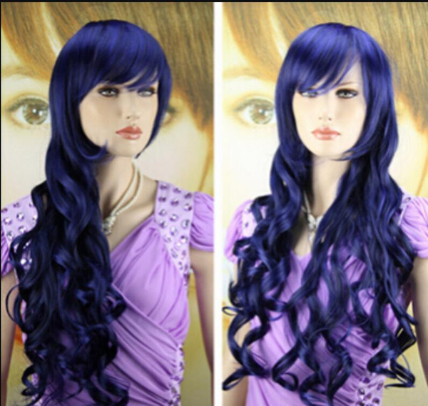 WIG free shipping New Long blue Curly Wavy Hair Full Wigs Cosplay Party Anime Lolita Wig