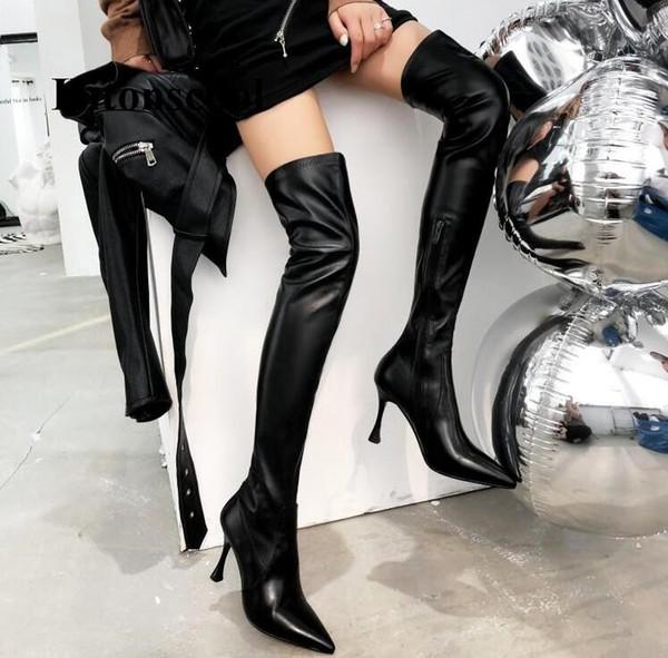 Nueva moda sobre botas hasta la rodilla Muslo Tacones altos 8 cm Botas de tacón Mujeres Otoño Primavera Sexy Punta estrecha Zapatos Mujer Zapatos de cuero
