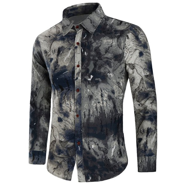 Automne commerce extérieur chaud nouveaux hommes chemise à manches longues en coton et lin imprimé chemise décontractée