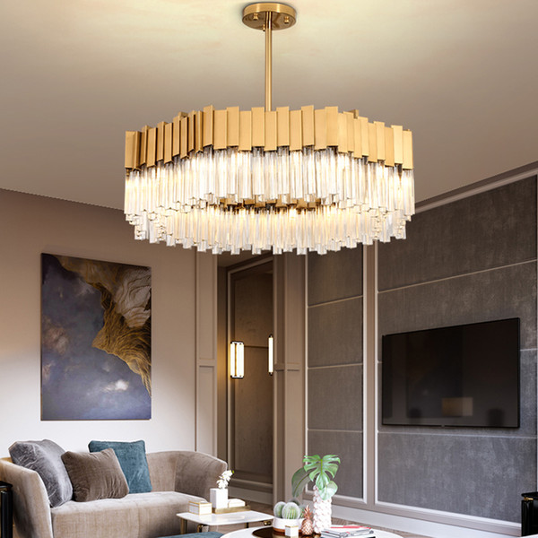 Modern Luxury K9 Crystal Gold Chandelier Lighting Stainless Steel  Chandeliers Light Living Room Dinning Room Bedroom Pendant Lamps Antler  Chandelier ...