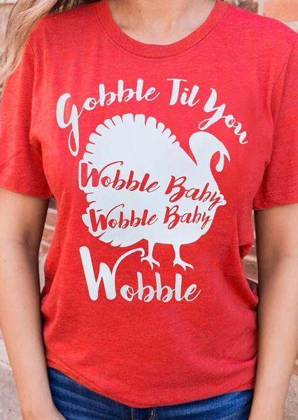 T-shirt da donna Tuffa Turchia Til You Wobble T-shirt Wobble Baby Tshirt Donna T-shirt grafica divertente T-shirt natalizie rosso Drop Ship
