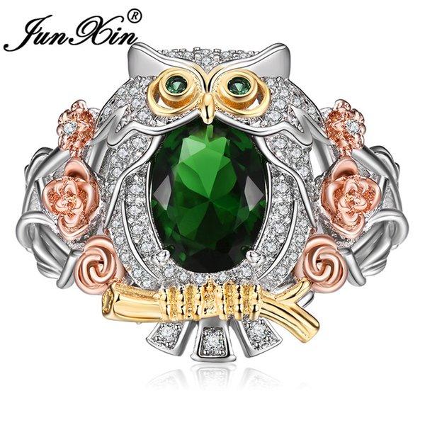 Junxin Donna Uomo Green Stone gufo sveglio anello in argento rosa color ovali zircone anelli animali grande matrimonio per gli uomini monili delle donne