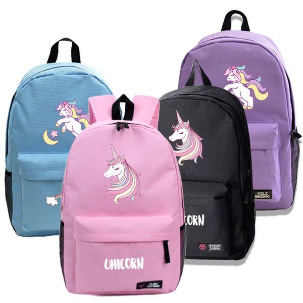 1 PC Cartoon Unicorn Printed Backpack Children Kids Unicorn Canvas Book School Bag Girls Boy Primary Double Shoulder Backpack