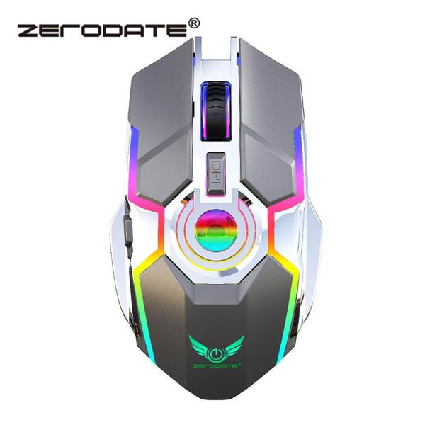 ZERODATE T30 Oyun Fare 2.4G Kablosuz Şarj Fare Dilsiz 2400 DPI Oyun Oyuncular Için Renkli Aydınlatma