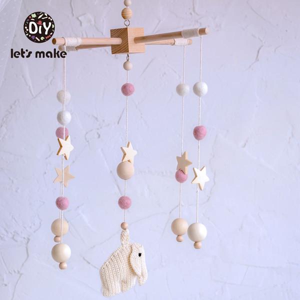 Hagamos del traqueteo del bebé móvil en la cama de bebé de madera Bolas de estrellas ganchillo PVC elefante animal de la historieta para la Educación Musical
