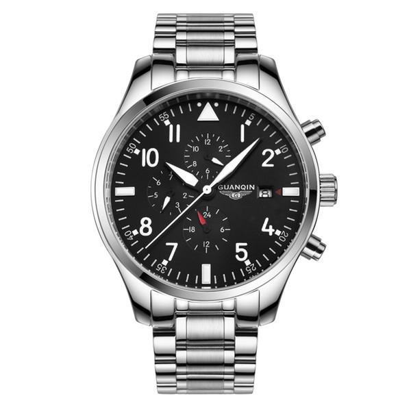 Multifuncional Pilot Watch Top Marca GUANQIN Moda Esporte Relógio Automático Homens Calendário Semana 24Hours Luminous relógios Mecânicos