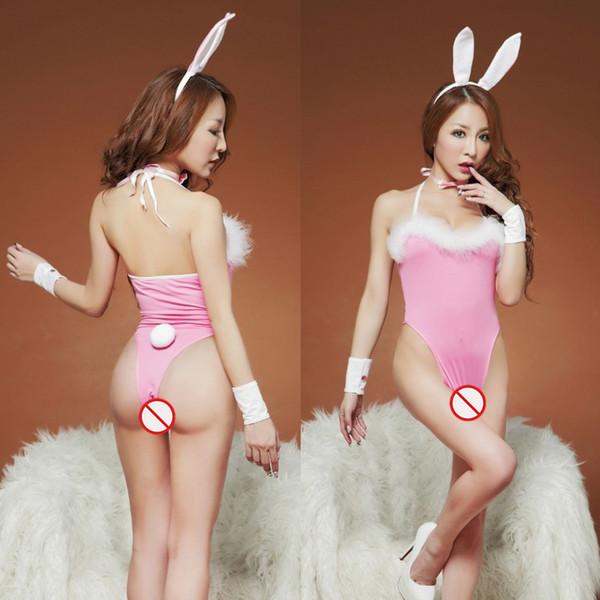 Nuove uniformi cosplay della biancheria sexy di trasporto libero vestito sexy della ragazza del coniglio tentazione estrema gatto di passione femminile la parte aperta di fascicolo SM