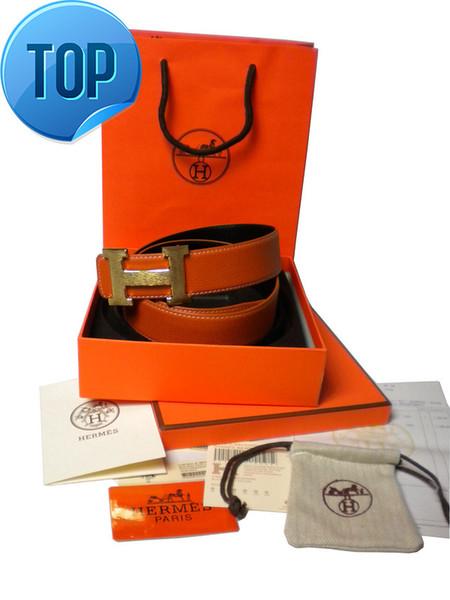 32MM Top Qualität Togo Epsom Togo Epsom Top Qualität Leder REVERSIBLE Braun Schwarz Togo Reversible Gürtel Gold oder Silber Schnalle 3,2 cm