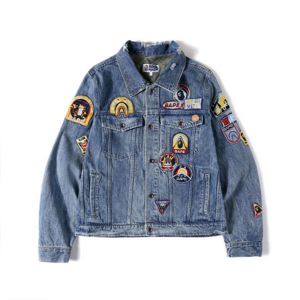 Bape Herren Designer-Jacken-Winter-Jacken Mode Herren Damen Jeansjacke Lässige Hip Hop Designer Jacke Herrenmode Größe M-XXL