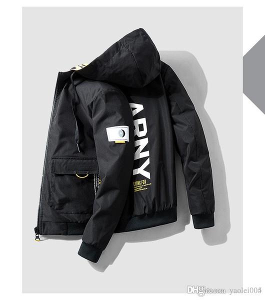 2019 giacca da uomo casual nuova di alta qualità giacca a doppia faccia moda di alta qualità felpa con cappuccio stampa teenager calda